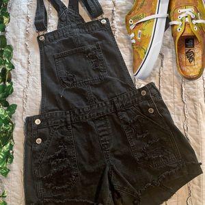 Hollister black denim overalls / shortalls